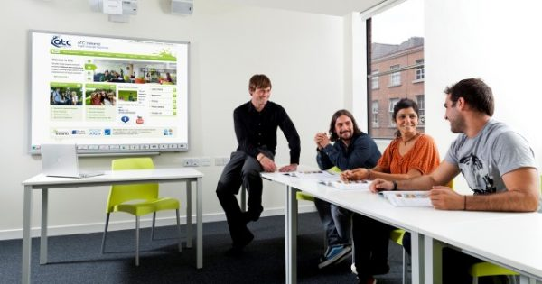 interactive whiteboard in office meeting